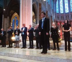 Jonannes Zeitler with competitors and jury, Chartres Cathedral, France